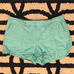 Turquoise Linen Shorts